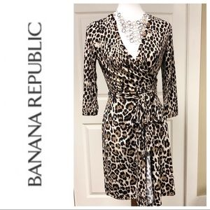 Banana Republic Leopard Print Wrap Dress Size M